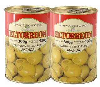 Aceitunas rellenas anchoa Torreón pack 2×130 g.