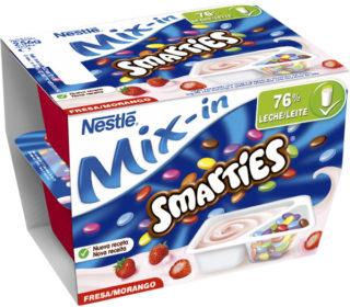 Yogur smarties fresa pack 2×128 g.