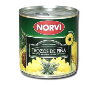 Piña trozos Norvi en su jugo 270 g.