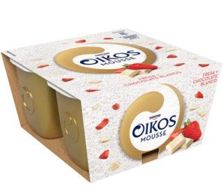 Oikos mousse fresa y chocolate blanco pack-4×55 g.