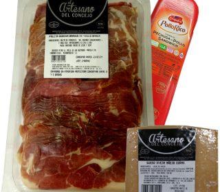 Lote : 1 Kg. paleta bodega loncheada A. del Concejo + 1 cuña queso oveja curado A. del Concejo de 250 g. + 250 g. Fiambre pechuga pollo Campofrio