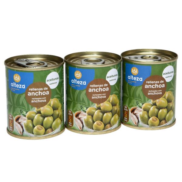 Aceitunas rellenas anchoa ALTEZA pack-3×50 g.